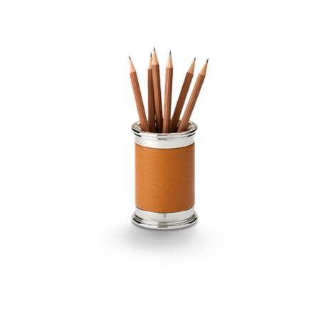 Pot à crayons finition cuir Grainé Cognac