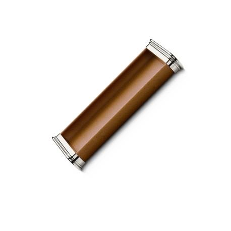 Plumier finition cuir grainé cognac